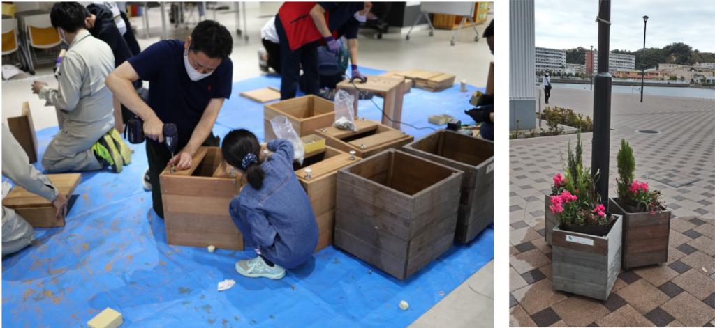 ハナバコ(木製プランター制作・花植え)のワークショップ