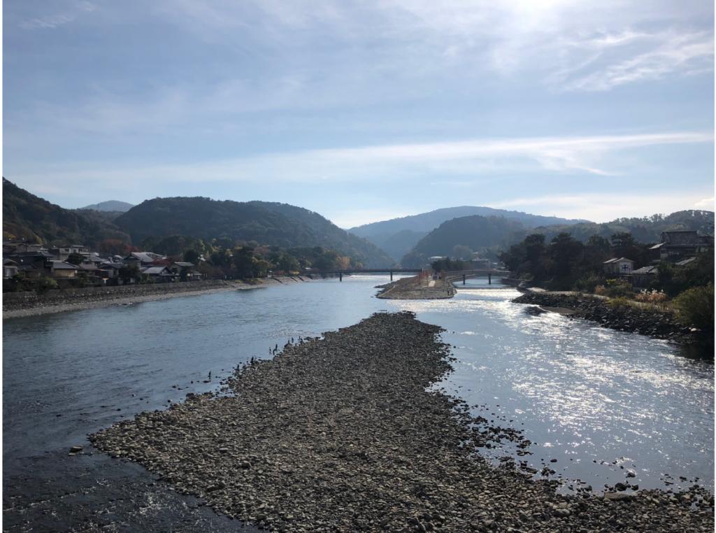 宇治橋から宇治川上流の眺望